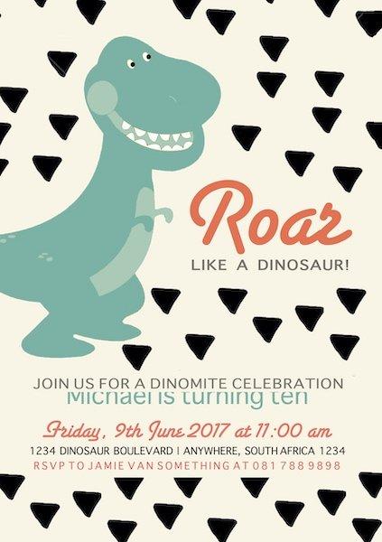 Dino Party Invite Digital Download Bazinga Parties