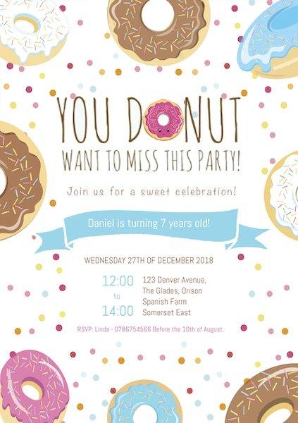 Donut Party Invite Digital Download Bazinga Parties