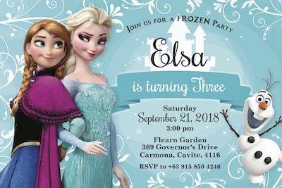 Frozen Ana & Elsa Digital Party Invites Bazinga