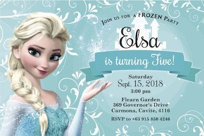 Frozen Elsa Digital Party Invite Bazinga Parties
