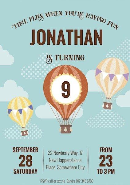 Hot Air Balloon Invite Digital Download Bazinga Parties