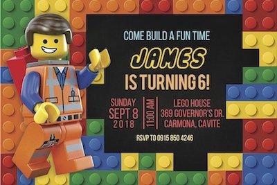 Lego Invite Digital Download Bazinga Parties