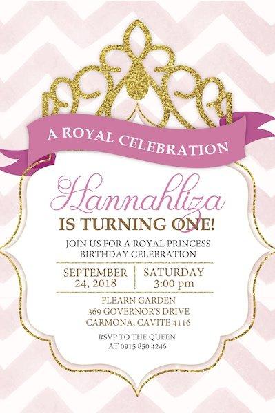 Princess Digital Party Invite Bazinga Parties UK
