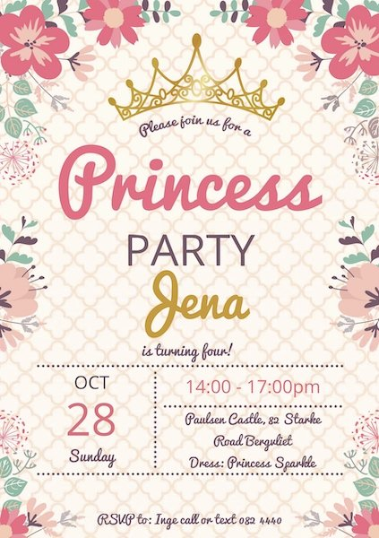 Princess Party Invite Digital Download Bazinga Parties