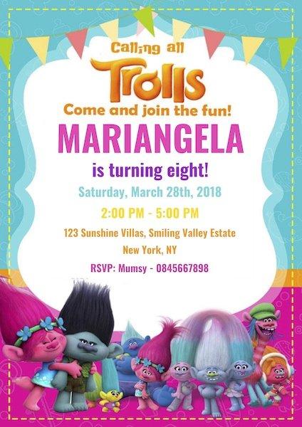 Trolls Party Invite Digital Download Bazinga Parties