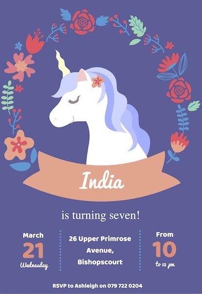 Unicorn Party Invite Digital Download Bazinga